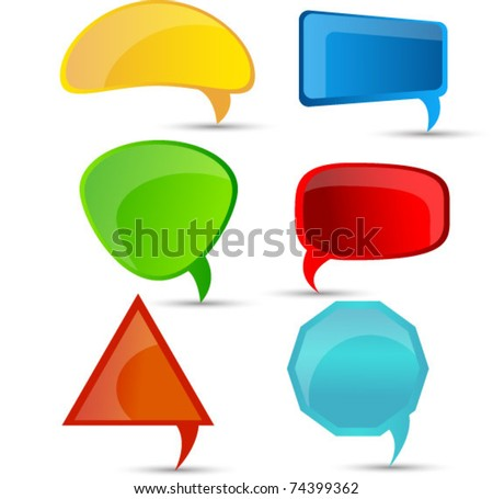 abstract glossy speech bubbles set - stock vector
