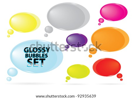 Abstract glossy speech bubbles set on white. Icon web vector illustration. - stock vector