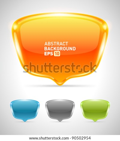 Abstract glossy speech bubbles set vector background with transparent. Eps 10. - stock vector