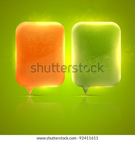 Abstract glossy speech bubbles vector background - stock vector