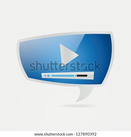 Abstract glossy speech bubbles video player - stock vector