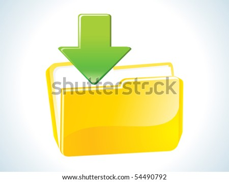 abstract glossy web yellow download icon vector illustration - stock vector