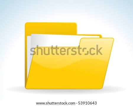 abstract glossy web yellow folder icon vector illustration - stock vector