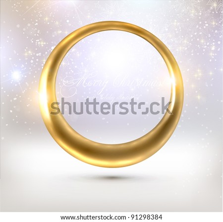 Abstract glow golden frame for winter design - stock vector