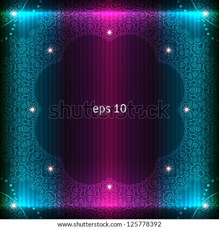 Abstract glowing background. Vector frame decorated with stars. - stock vector