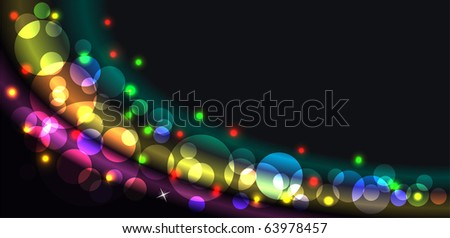 Abstract glowing background with translucent circles and stars - stock vector