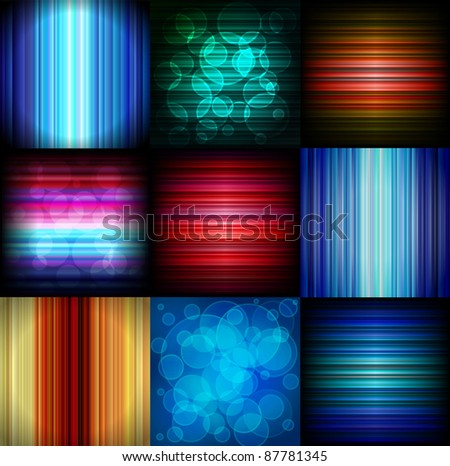 Abstract glowing backgrounds. Striped and bokeh. - stock vector