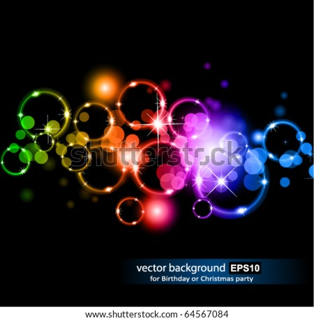 Abstract Glowing Circles of llight with Raibow Colours Background