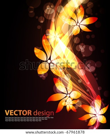 abstract glowing flower lights background - stock vector