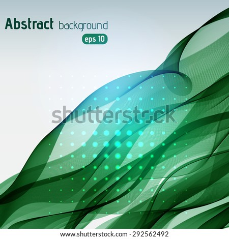 Abstract glowing green background - stock vector