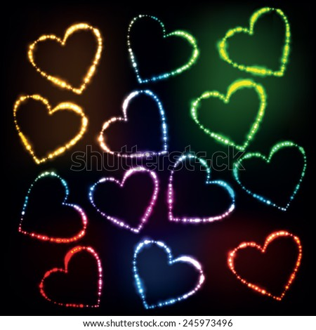 Abstract glowing heart shaped lights  - stock vector