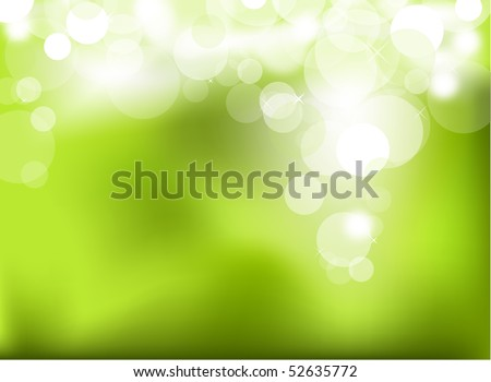 Abstract glowing light on a green background - stock vector