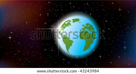 abstract glowing sunrise over planet Earth, seen from space - stock vector