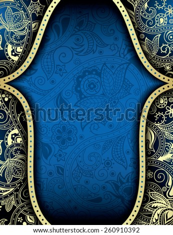 Abstract Gold and Blue Floral Frame Background - stock vector