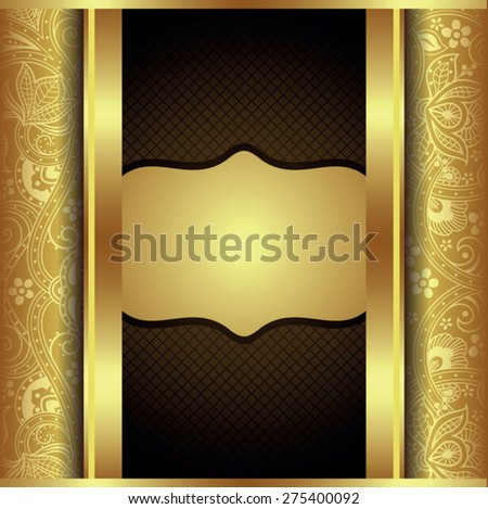 Abstract Gold and Brown Floral Frame - stock vector