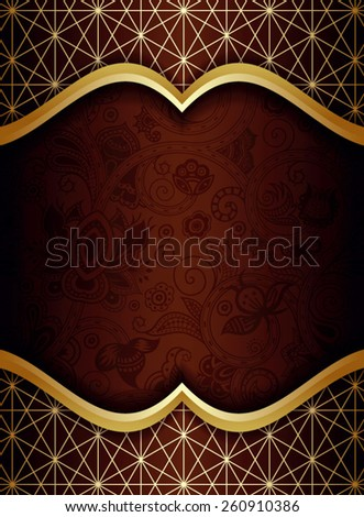 Abstract Gold and Brown Floral Frame Background - stock vector