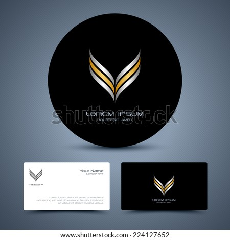 Abstract gold and silver icon. Vector business collection. - stock vector