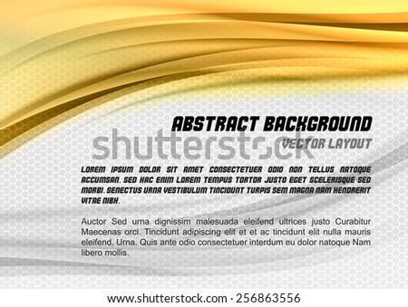 Abstract gold background with grey hexagon. Vector design. - stock vector