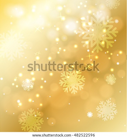 abstract gold Christmas background with snowflakes