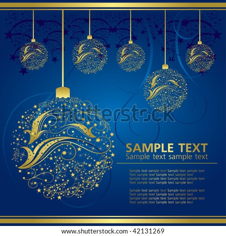 abstract gold christmas bell on blue background
