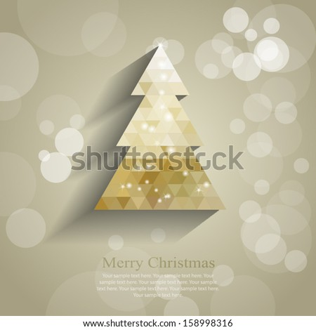 Abstract Gold Christmas Tree - stock vector