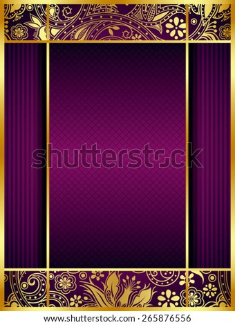 Abstract Gold Floral Frame Background - stock vector