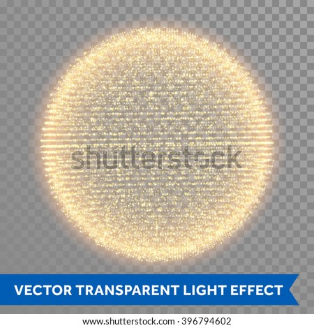 Abstract gold glitter light sphere.  - stock vector