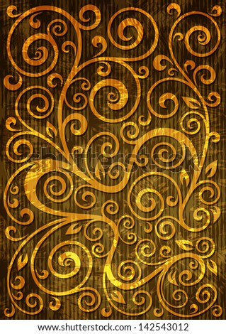 Abstract gold grunge vector floral illustration.