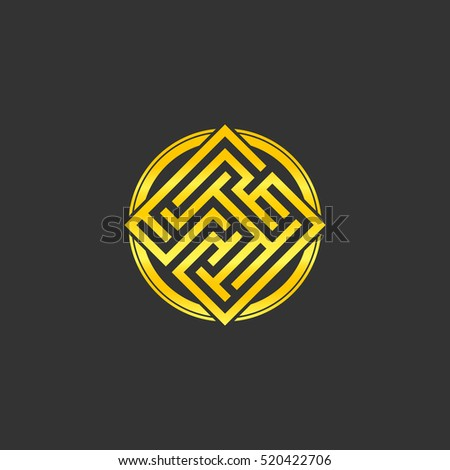 Abstract gold maze, maze emblem, gold pattern