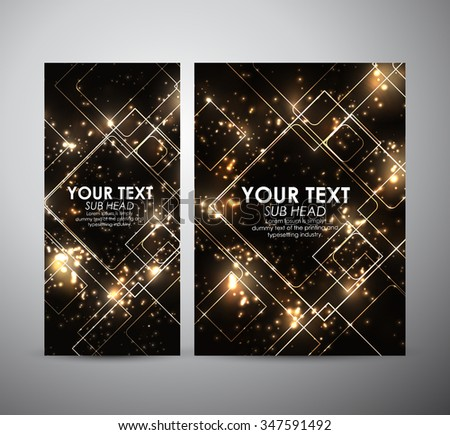 Abstract gold squares shining pattern. Brochure business design template or roll up. Vector illustration - stock vector
