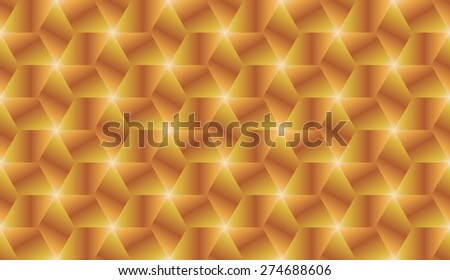 Abstract golden and bronze gradient cubes seamless pattern design vector - stock vector