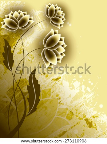Abstract Golden Background with Flowers. - stock vector