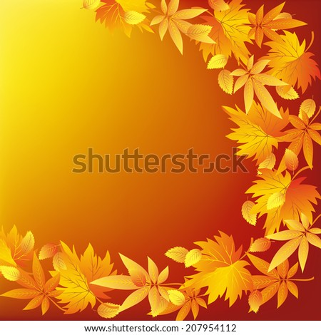 Abstract golden background with red, yellow and orange leaves. Beautiful nature wallpaper with leaf fall. Place for text. Vector illustration.
