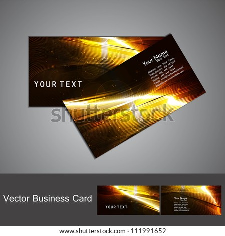 abstract golden bright colorful line wave Professional business card vector design - stock vector