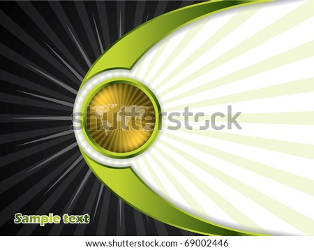 Abstract golden button with rays - stock vector