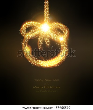 Abstract golden christmas ball on black background. Vector eps10 illustration - stock vector