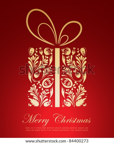 Abstract golden Christmas gift - stock vector