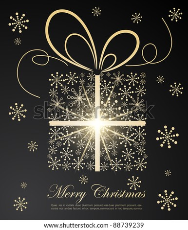Abstract golden Christmas gift on dark background - stock vector