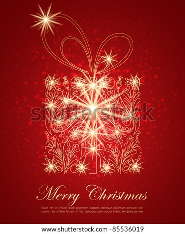 Abstract golden Christmas gift with glowing lights - stock vector