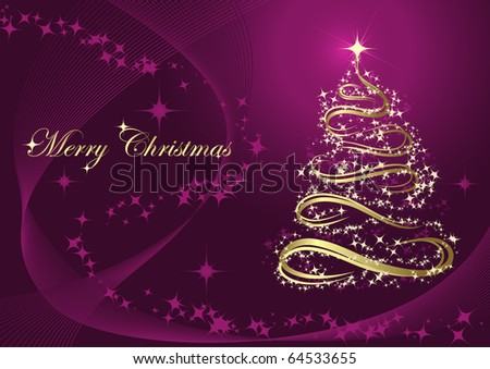 Abstract golden christmas tree against purple background - stock vector