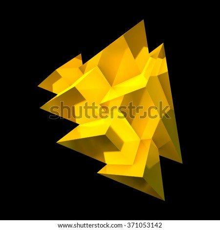 Abstract golden crystal with overlapping shiny pyramids - stock vector