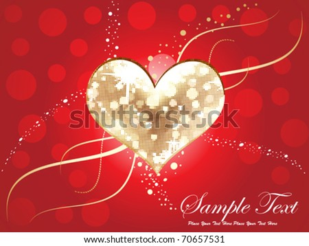 abstract golden & disco heart background