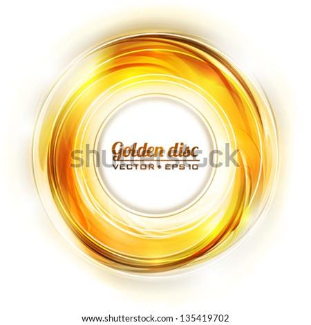 Abstract golden disk. Vector - stock vector
