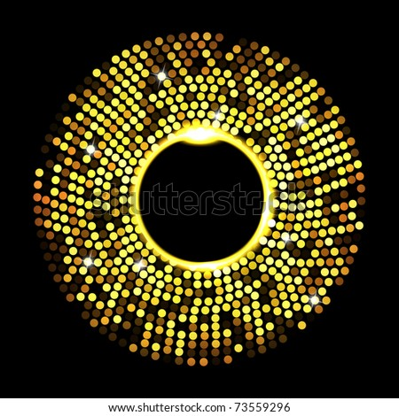 Abstract golden dots on black background. Vector eps10 illustration - stock vector