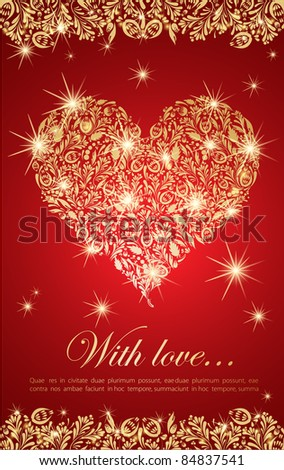 Abstract golden floral heart with glowing lights - stock vector