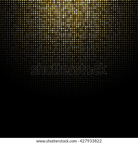 Abstract golden glitter background. Square halftone effect. Golden halftone dots on black backdrop.