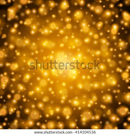 Abstract Golden Light Bokeh Background Vector Illustration. Magic Gold Defocused Glitter Sparkles. Good for promotion materials, Brochures, Banners. Abstract Backdrop.