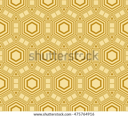 Abstract golden modern seamless pattern with random shape hexagon. Vector illustration. Beautiful background. Texture of gold color