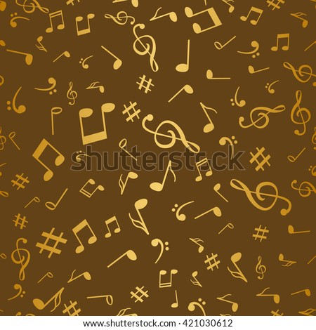 Abstract golden music notes seamless pattern background vector illustration for your design. - stock vector