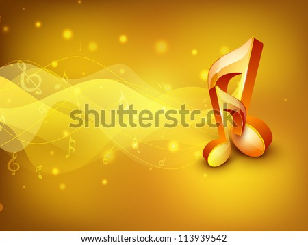 Abstract golden musical note on rays background. EPS 10. - stock vector